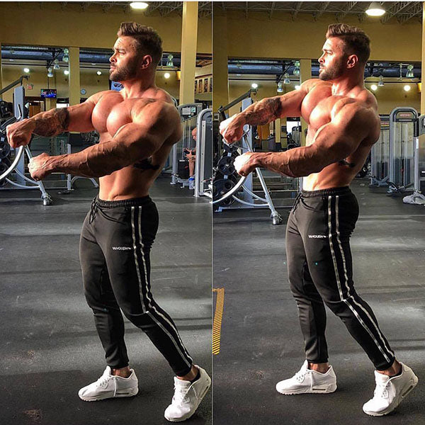 Casual Fitness Men's Striped Ankle Banded Pants - KINGEOUS