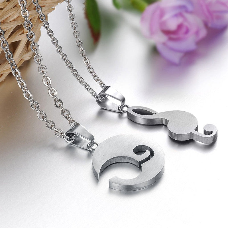 Romantic White Music Note Shape Stainless Steel Couple Necklaces