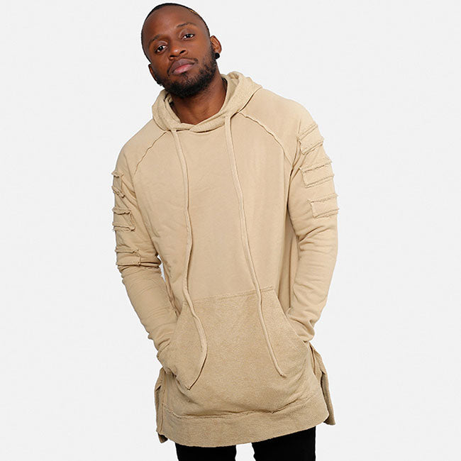 Street Hip-hop Solid Color Plus Pocket Design Men's Hoodie