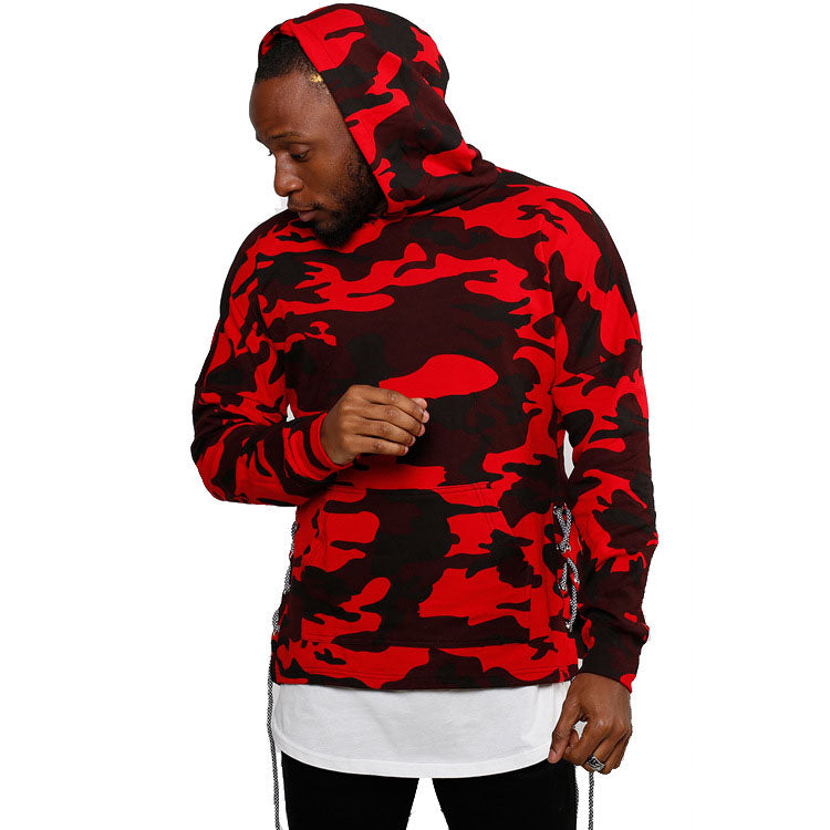 Camo Side-Lace Hooded Pullover Men's Hoodie - KINGEOUS