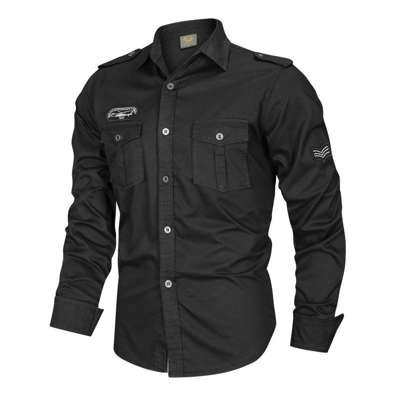 Tactics Cotton Long Sleeve Solid Color Men's Cargo Shirt