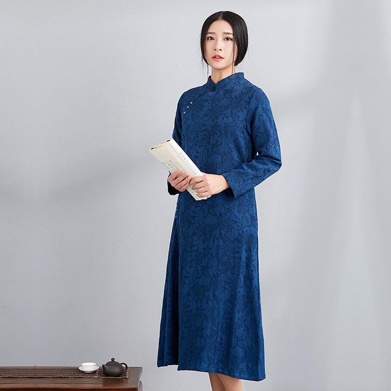 Elegant Solid Color Flax Jacquard Traditional Long Dress - KINGEOUS