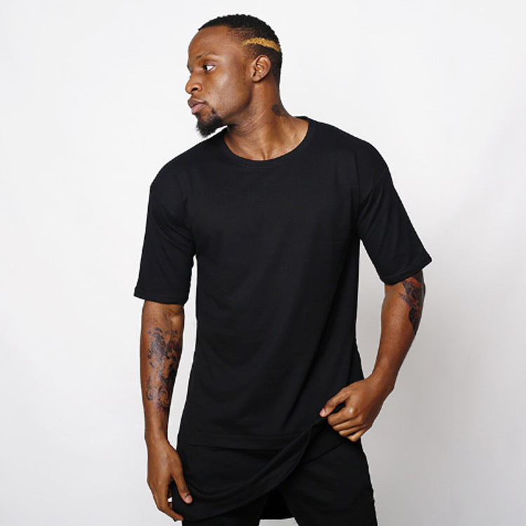 Solid Color Hip-hop Short-sleeve Layered-look Men's T-shirt