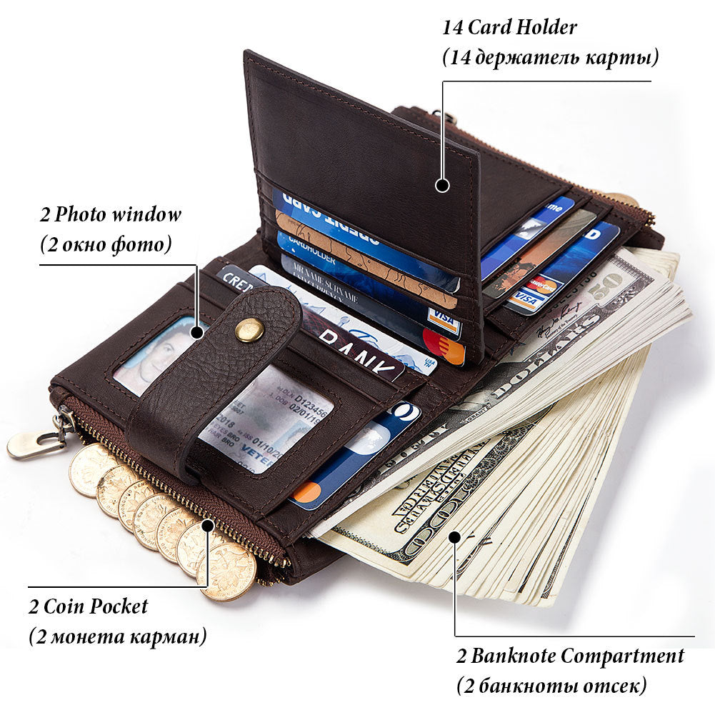 Multifunction Retro Zipper Leather Men's Wallet