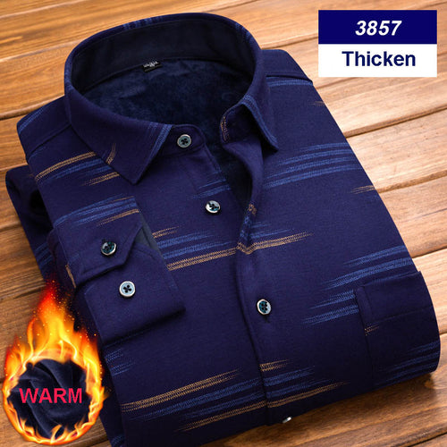 Thicken Velvet Winter Warm Long Sleeve Men's Shirt