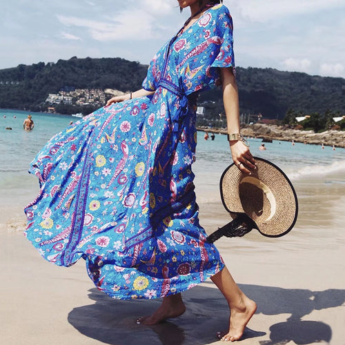 Amazing Printed Deep V-neck and Backless Beach Maxi Dress