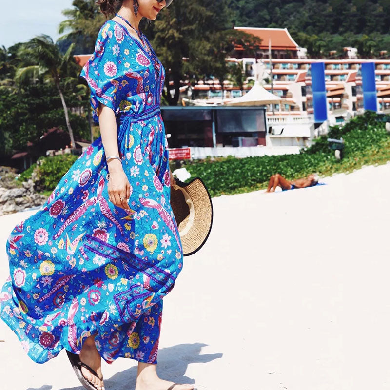Amazing Printed Deep V-neck and Backless Beach Maxi Dress - KINGEOUS