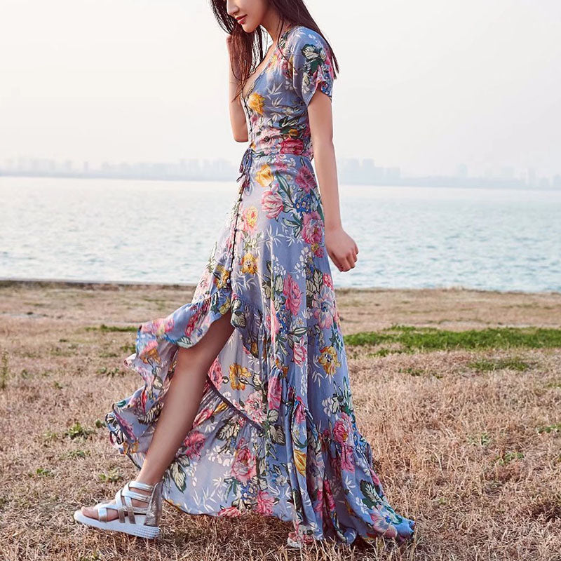 Florals Printed Boho V-neck Fishtail Maxi Dress