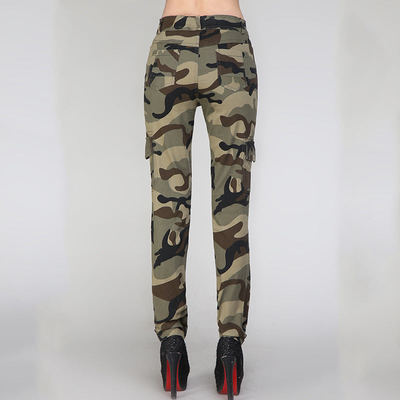Casual Embroidered Camouflage Women's Cargo Pants - KINGEOUS