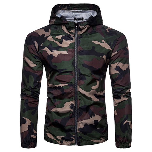 European Size Military Style Camo Hooded Men's Jacket