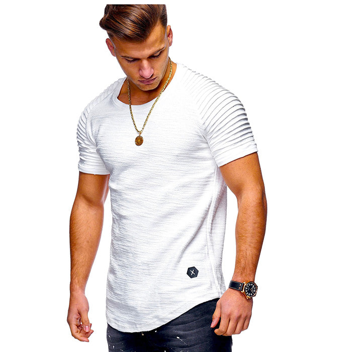 Solid Color Stripe Slim Fitness Men's T-shirt