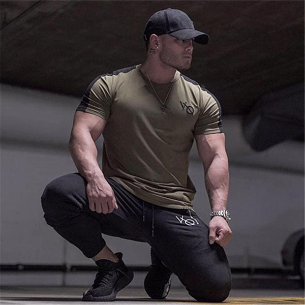 Muscle Round Neck Cotton Fitness Short-sleeved  Men's T-shirt