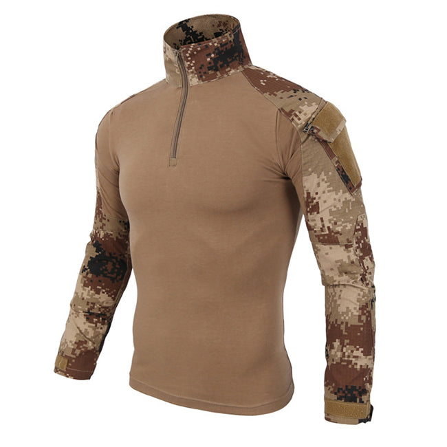 Militarily Jungle Wear-resistant Long Sleeve Zipper Men's T-shirt