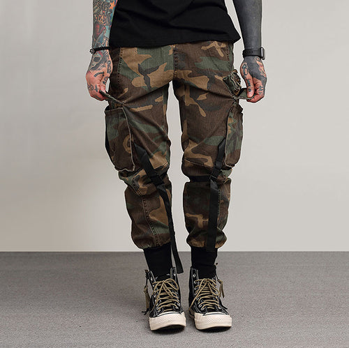 Retro Camo Loose Ankle-Tied  Men's Cargo Pants