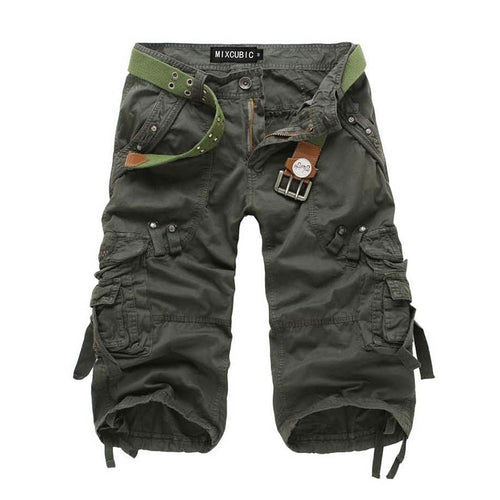 Calf-length Cargo Solid Color Multi-pocket Men Shorts - KINGEOUS