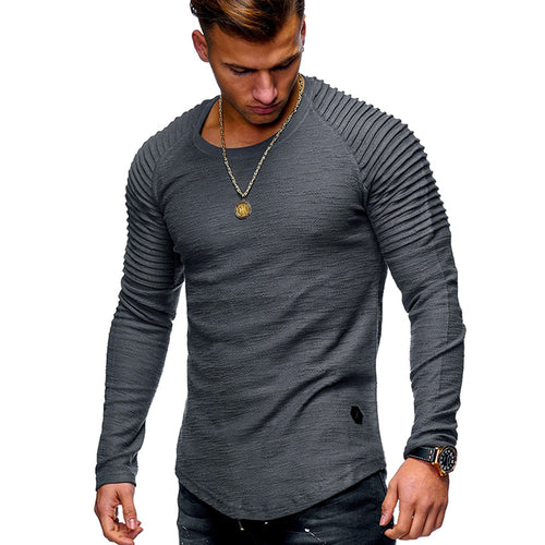 Round Neck Striped Pleated Raglan Long Sleeve Men's T-Shirt
