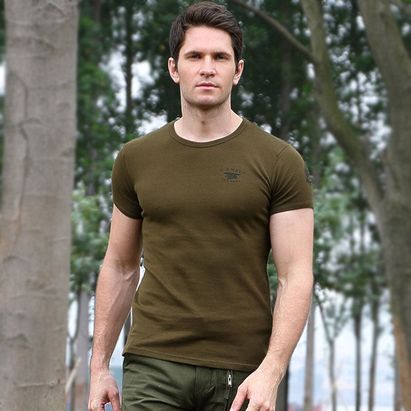 Casual Cotton Round Neck Military Men T-shirt - KINGEOUS