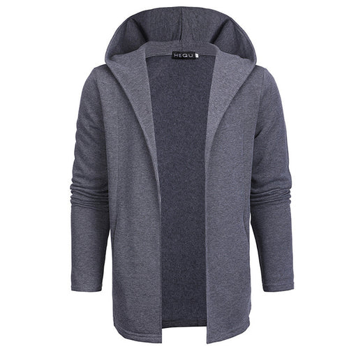 Medium&Long Section Slim Hooded Lapel Men's Hoodie