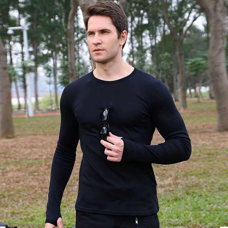 Elastic Slim Round-Neck Long Sleeve Men's T-shirt - KINGEOUS