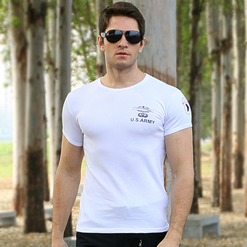 Slim Cotton Round Neck Short Sleeve Military Men T-shirt