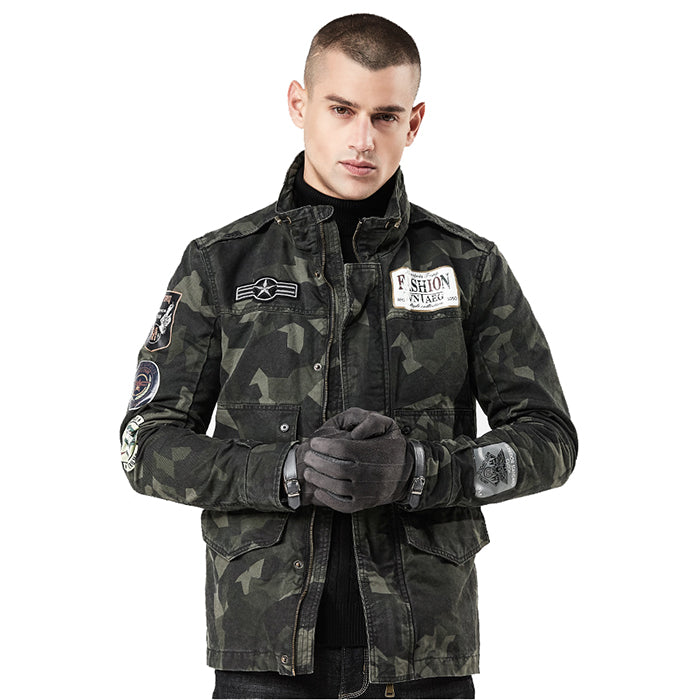 Street Camouflage Standing Collar Slim Fit Men's Jacket