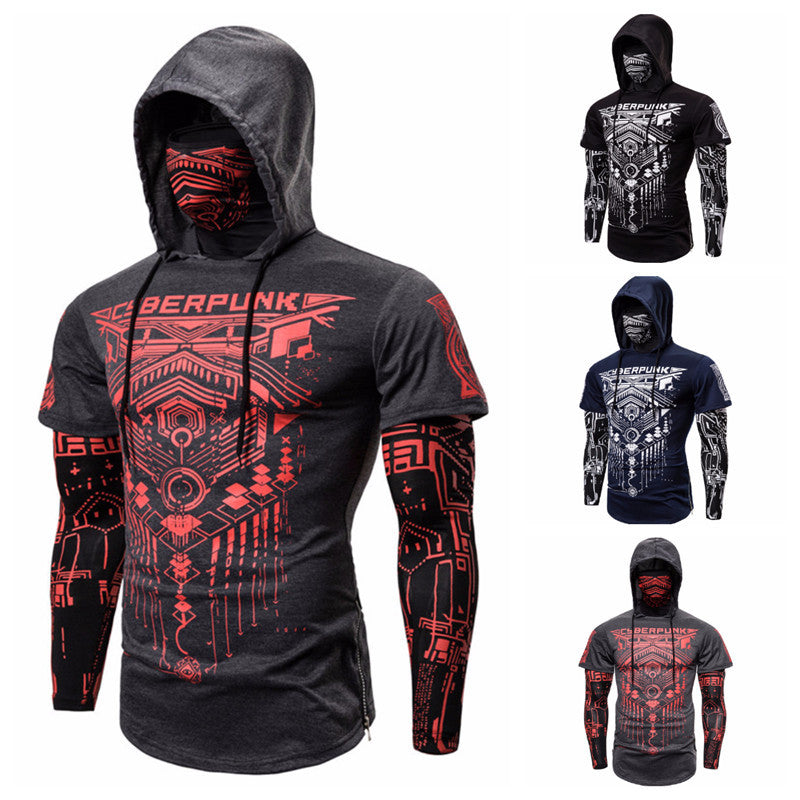 Riding Printed Outdoor Windproof Fake Two Piece Men's T-shirt