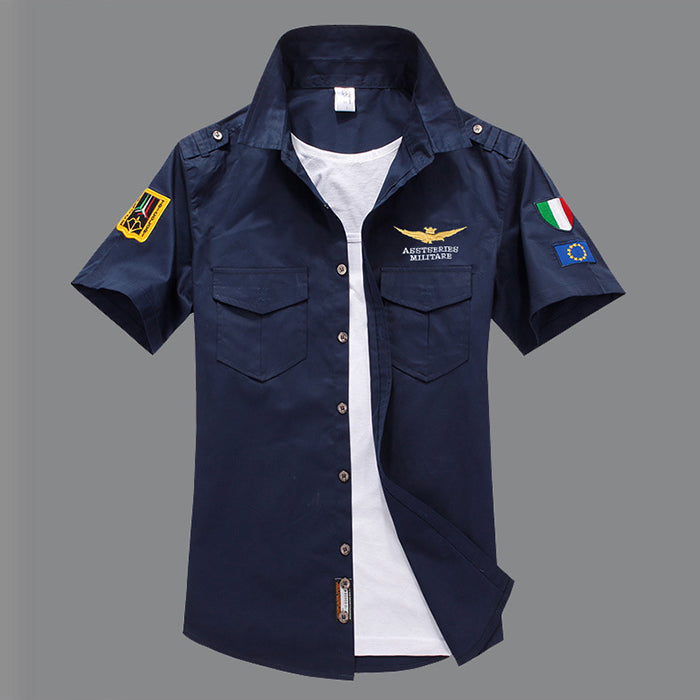 Air Force One Cotton Embroidery Slim Men's Shirt - KINGEOUS