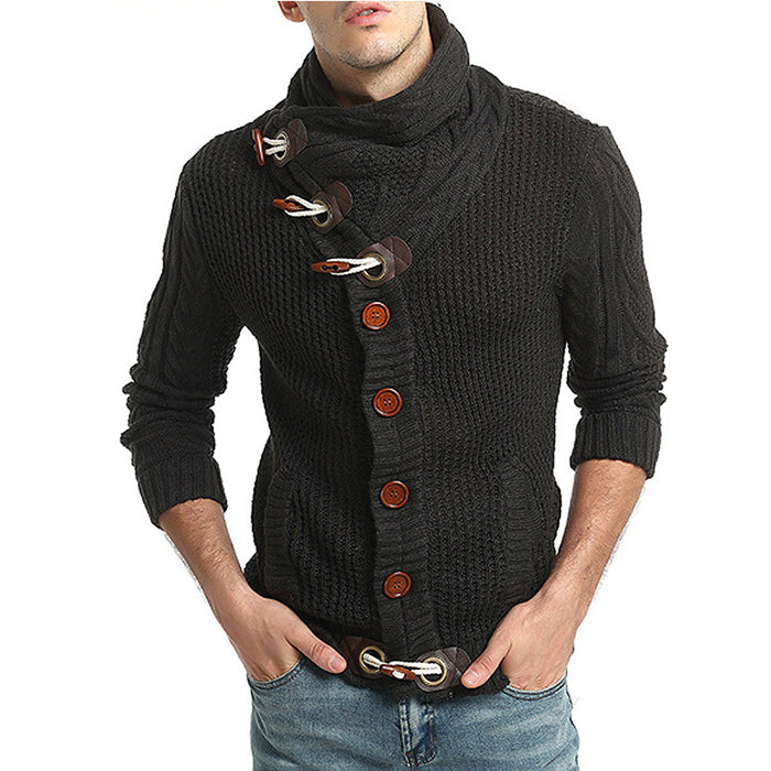 Horn Buckle Design Thicken Knitting Men's Cardigan