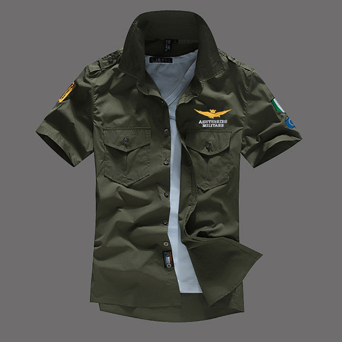 2018 Air Force One Cotton Embroidery Slim Men's Shirt - KINGEOUS