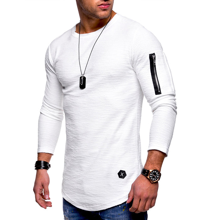 Solid Color Round Neck Arm Zip Style Men's T-shirt