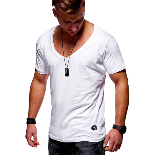 d9e419d8897 Leisure Solid Color V-Neck Breathable Men s T-shirt