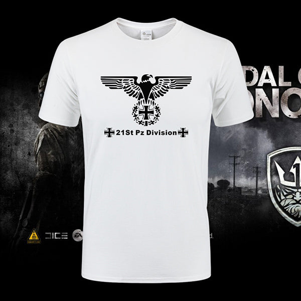 Military Style Eagle Print Round Neck Tactical T-shirt