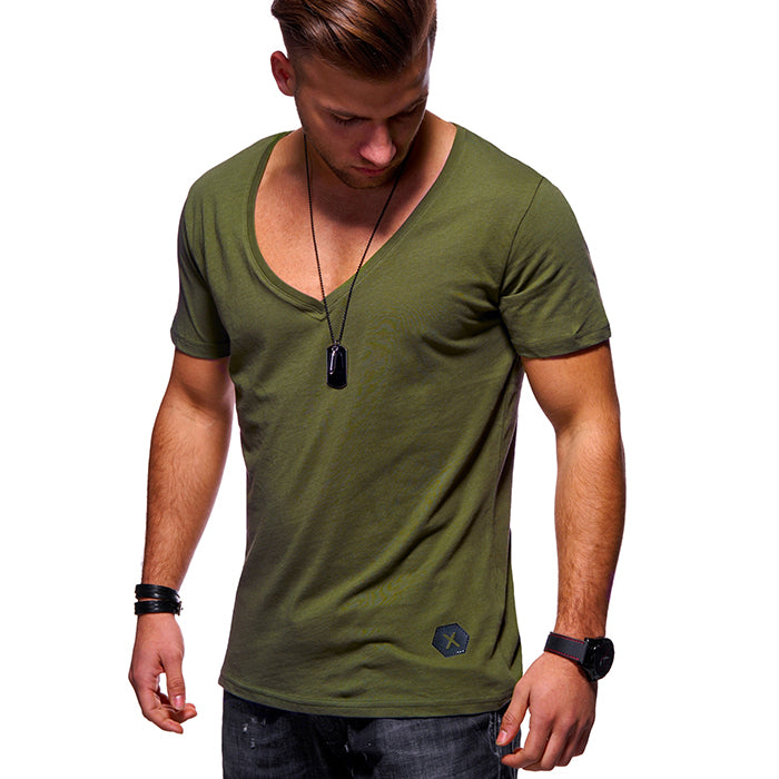 Leisure Solid Color V-Neck Breathable Men's T-shirt