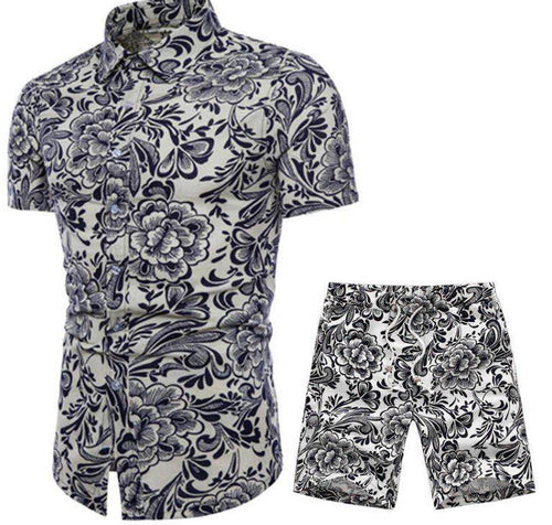 Florals Printed Holiday Men Shirt and Shorts Suit