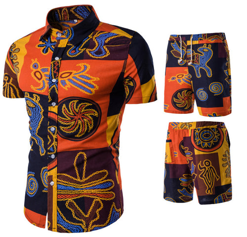Causal Printed Holiday Men Shirt and Shorts Suit - KINGEOUS