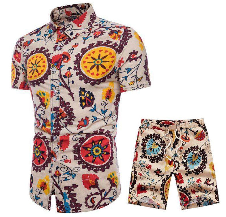 Fruit Pattern Printed Holiday Men Shirt and Shorts Suit