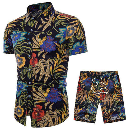 Plant Printed Holiday Men Shirt and Shorts Suit
