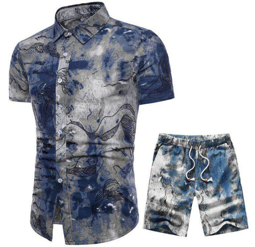 Blue Wash Printed Holiday Men Shirt and Shorts Suit - KINGEOUS