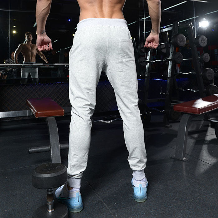 Solid Color Casual Cotton Fitness Jogger Men's Pants