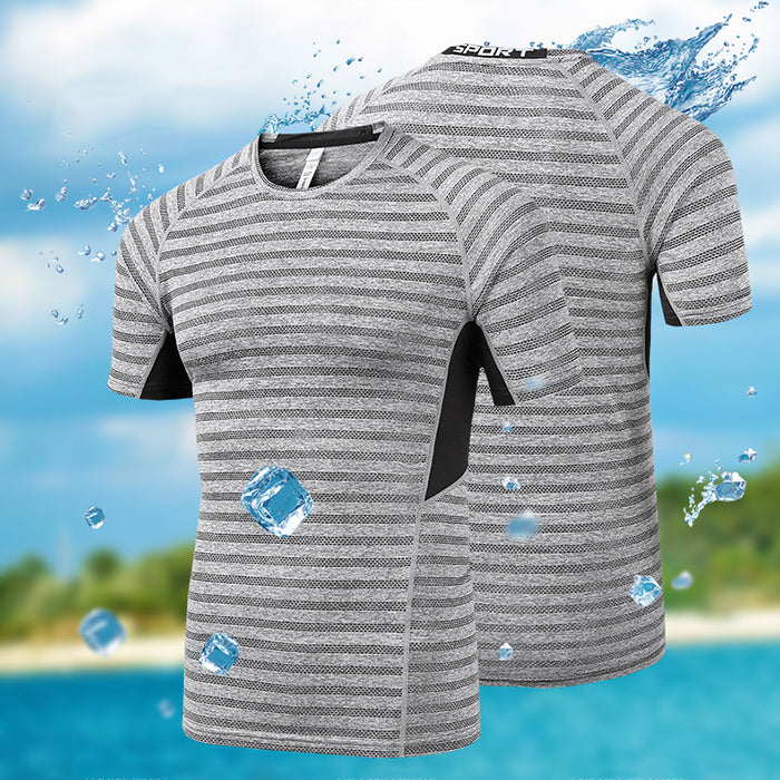 Cool Fast Drying Slim Thin Round-Neck Men's T-shirt - KINGEOUS