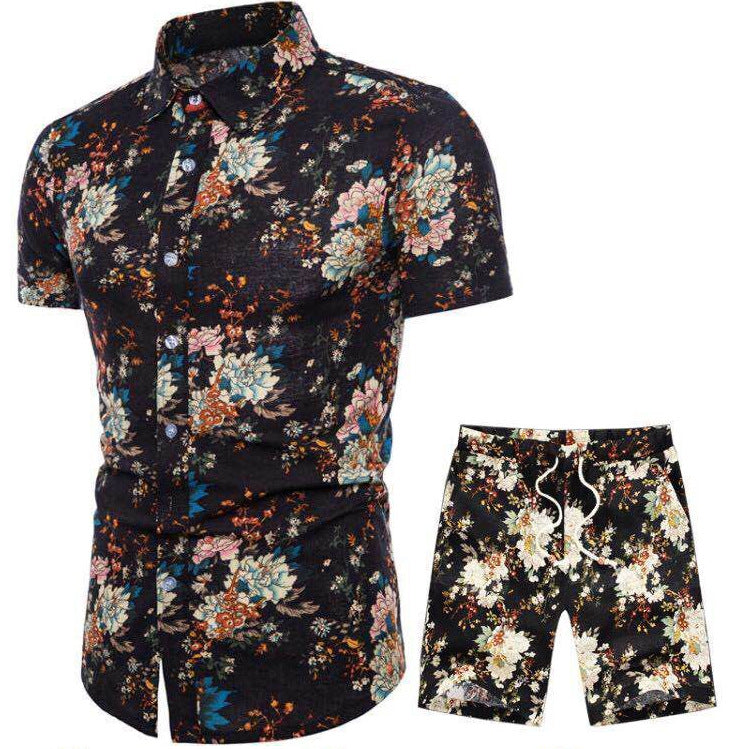 Short Sleeve Holiday Men Shirt and Shorts Suit