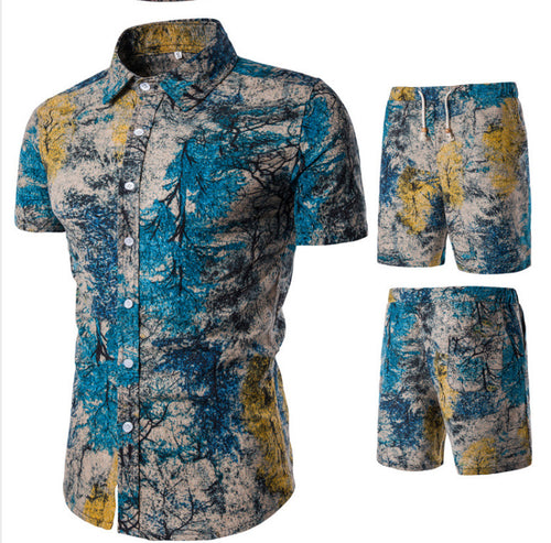 Tree Printed Holiday Men Shirt and Shorts Suit