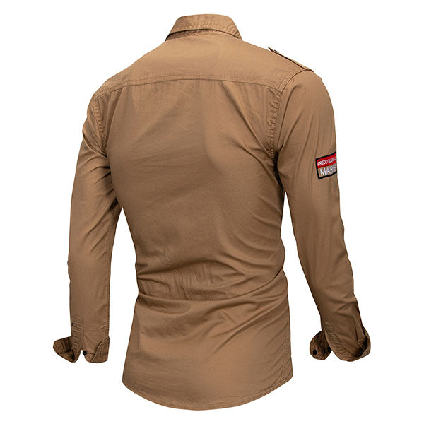 Military Style Lapel Pocket Design Long-sleeved Men's Shirt