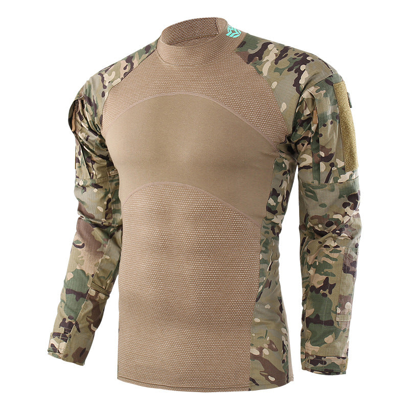 Military Stand Collar Split Joint Breathable Men's T-shirt