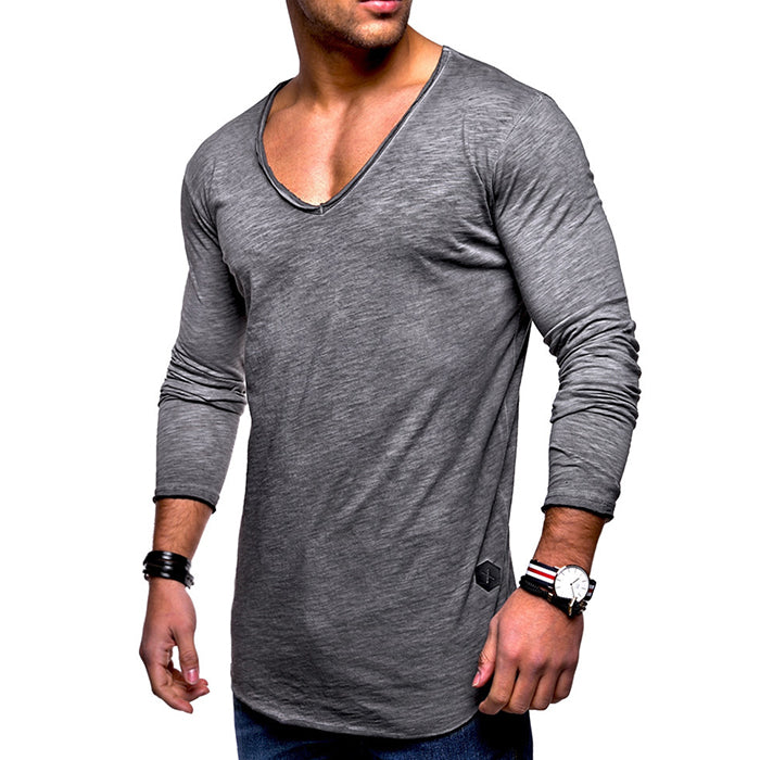 a27b6a80888 Leisure V-Neck Solid Color Cotton Long Sleeve Men s T-Shirt – TANGEEL