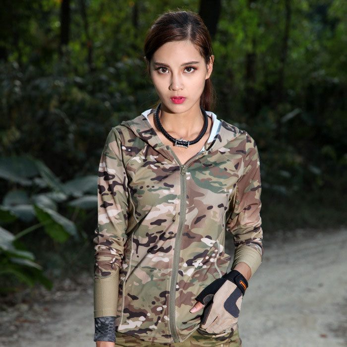 Fashion Outdoor Camouflage Quick-drying Women Coats