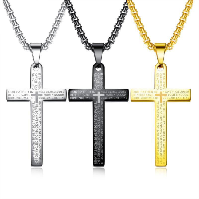 Retro Cross Bible Stainless Steel Men Necklace