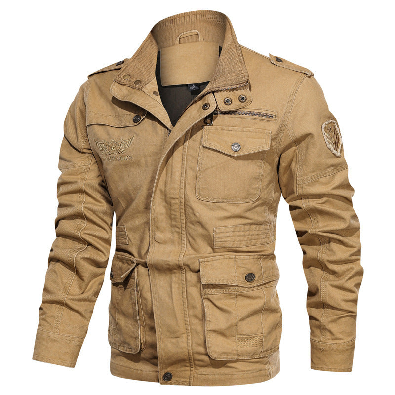 Casual Cotton Wash Solid Color Men Jacket - KINGEOUS