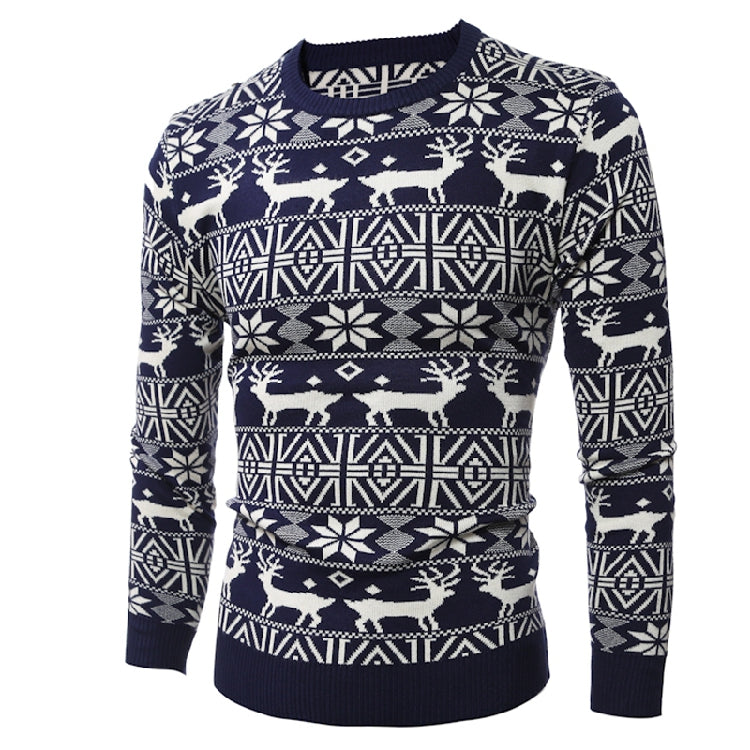 Elk Printed Round Neck Knit Men's Sweater