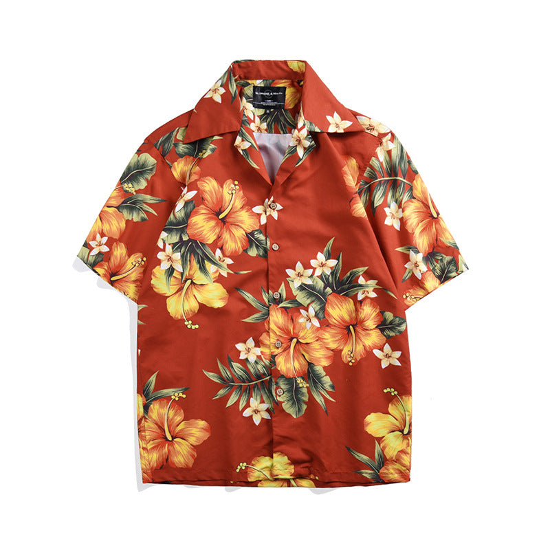New Floral Print Holiday Holiday Large Short-sleeved Men Shirts
